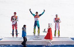 22.02.2018, Yongpyong Alpine Centre, Pyeongchang, KOR, PyeongChang 2018, Ski Alpin, Herren, Slalom, Siegerpräsentation, im Bild v.l. Ramon Zenhaeusern (SUI, 2. Platz), Andre Myhrer (SWE, 1. Platz), Michael Matt (AUT, 3. Platz) // f.l. silver medalist Ramon Zenhaeusern of Switzerland, gold medalist and Olympic champion Andre Myhrer of Sweden, bronce medalist Michael Matt of Austria during the winner presentation of the men's Alpine Slalom Race of the Pyeongchang 2018 Winter Olympic Games at the Yongpyong Alpine Centre in Pyeongchang, South Korea on 2018/02/22. EXPA Pictures © 2018, PhotoCredit: EXPA/ Johann Groder