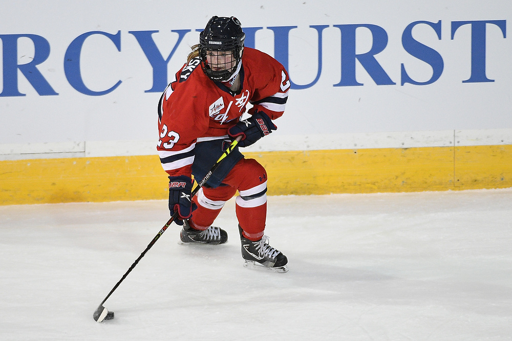 ERIE, PA - MARCH 05: Ellie Marcovsky #23 of the Robert Morris Colonials skates with the puck in the second period during the game against the Mercyhurst Lakers at the Erie Insurance Arena on March 5, 2021 in Erie, Pennsylvania. (Photo by Justin Berl/Robert Morris Athletics)