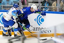 Anton Sagadeyev of Kazakhstan vs Anze Kopitar of Slovenia during ice hockey match between Slovenia and Kazakhstan at IIHF World Championship DIV. I Group A Kazakhstan 2019, on April 29, 2019 in Barys Arena, Nur-Sultan, Kazakhstan. Photo by Matic Klansek Velej / Sportida
