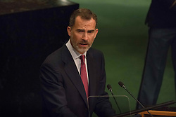 September 20, 2016 - New York, NY, United States - Spanish King Felipe IV delivers his remarks on the first day of the UN General Assembly's General Debate, IN General Assembly Hall at UN Headquarters in New York. (Credit Image: © Albin Lohr-Jones/Pacific Press via ZUMA Wire)