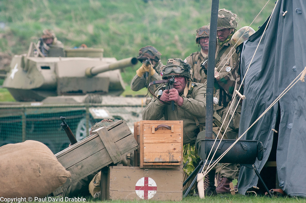 Reenactor of the NWW2A Portraying a paratroopers from the US 82nd Airborne Division during a battle reenactment at Fort Paull on Sunday ..5 May 2013.Image © Paul David Drabble