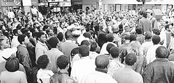 Jay Naidoo at Freedom Square Highpoint addressing a crowd. Pic: Robert Botha. 03/08/1992. © Business Day.