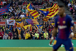 May 9, 2018 - Barcelona, Catalonia, Spain - Barcelona's supporters hold proindependence flags during the spanish football league La Liga match between FC Barcelona and Villarreal at the Camp Nou Stadium in Barcelona, Catalonia, Spain on May 9, 2018  (Credit Image: © Miquel Llop/NurPhoto via ZUMA Press)