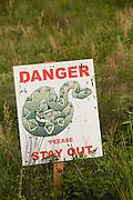 Danger rattlesnake sign in Andersonville, Georgia.