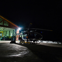 Activité des gendarmes en charge du secours en montagne à la DZ de Modane. Départ en secours en montagne de l'hélicoptère EC145 Choucas 73 du Détachement Aérien Gendarmerie et vues nocturnes du DAG. <br /> Février 2017 / Modane (73) / FRANCE