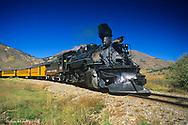 Durango and Silverton narrow guage railroad passenger train in Durango, Colorado, USA
