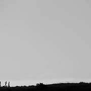 Runners on a ridge in Military Reserve Park in Boise, Idaho