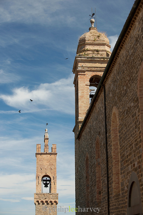 The bell tower of the Palazzo dei Priori in Montalcino, Tuscany, Italy