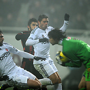 Besiktas's Hugo Almedia (L) during their Turkish superleague soccer match Besiktas between Eskisehirspor at BJK Inonu Stadium in Istanbul Turkey on Wednesday, 04 January 2012. Photo by TURKPIX