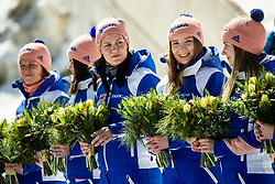 Flowers at Trophy ceremony during the Ski Flying Hill Team Competition at Day 3 of FIS Ski Jumping World Cup Final 2019, on March 23, 2019 in Planica, Slovenia. Photo by Vid Ponikvar / Sportida