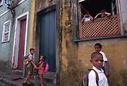 Children in downtown Salvador da Bahia