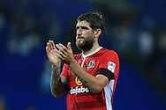 Danny Graham of Blackburn Rovers applauds the Blackburn fans at the end of the match.  EFL Skybet championship match, Cardiff city v Blackburn Rovers at the Cardiff city stadium in Cardiff, South Wales on Wednesday 17th August 2016.<br /> pic by Andrew Orchard, Andrew Orchard sports photography.