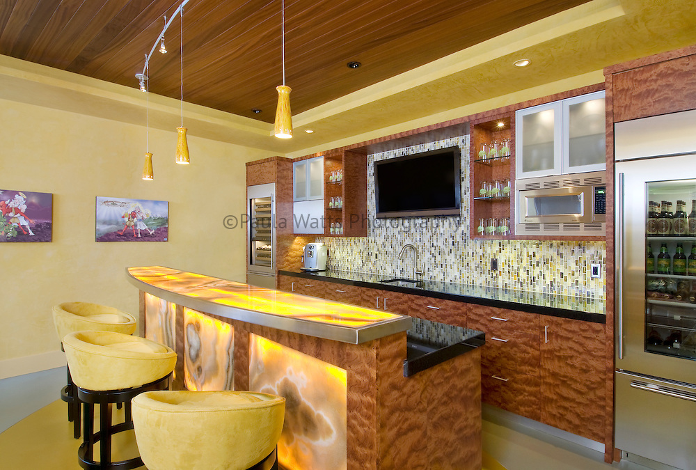 Modern Bar inside residence with onyx counter and fine finishes