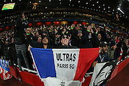 'Ultras Paris SG'  fans chanting before k/o. UEFA Champions league group A match, Arsenal v Paris Saint Germain at the Emirates Stadium in London on Wednesday 23rd November 2016.<br /> pic by John Patrick Fletcher, Andrew Orchard sports photography.