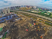 TIANJIN, CHINA - SEPTEMBER 11: (CHINA OUT) <br /> <br /> Aerial View Of Tianjin Explosion Site After Getting Cleared <br /> <br /> (Image taken with GoPro) Image shows Tianjin explosion site after most of broken buildings and dangerous debris get cleared on September 11, 2015 in Tianjin, China. The death toll from the massive blasts in Tianjin on August 12 rose to 161, and 12 people remained missing, officials said. <br /> ©Exclusivepix Media