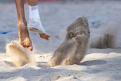 17-07-2018 NED: CEV DELA Beach Volleyball European Championship day 3<br /> Christiaan Varenhorst #1 NED en Jasper Bouter #2 NED winnen ook hun tweede wedstrijd. De enkel van Christiaan Varenhorst #1 NED hield het ook in de tweede wedstrijd goed.