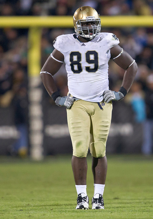October 01, 2011:  Notre Dame defensive end Kapron Lewis-Moore (#89) during NCAA Football game action between the Notre Dame Fighting Irish and the Purdue Boilermakers at Ross-Ade Stadium in West Lafayette, Indiana.  Notre Dame defeated Purdue 38-10.