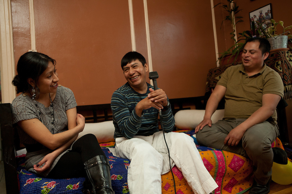 From left to right, Perfecta Villegas, Victor Hernandez and Irwin Sanchez. Their conversation is being recorded by Daniel Kaufman of the Endangered Language Alliance as part of its mission to preserve languages in danger of disappearing.
