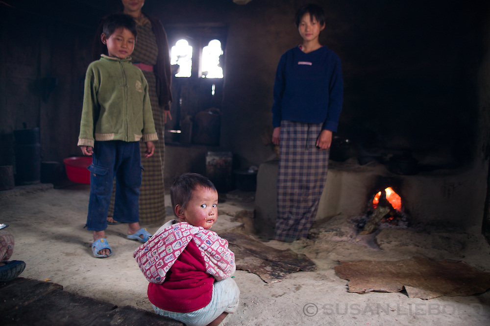 A family at home in Bhutan.