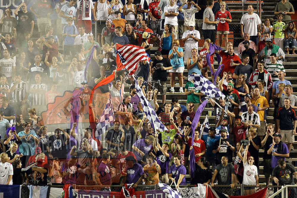Orlando City Lions fans celebrate a goal against Newcastle United Goalkeeper Fraser Forester (21) during an International Friendly soccer match between English Premier League team Newcastle United and the Orlando City Lions of the United Soccer League, at the Florida Citrus Bowl on Saturday, July 23, 2011 in Orlando, Florida. Orlando won the match 1-0. (AP Photo/Alex Menendez)