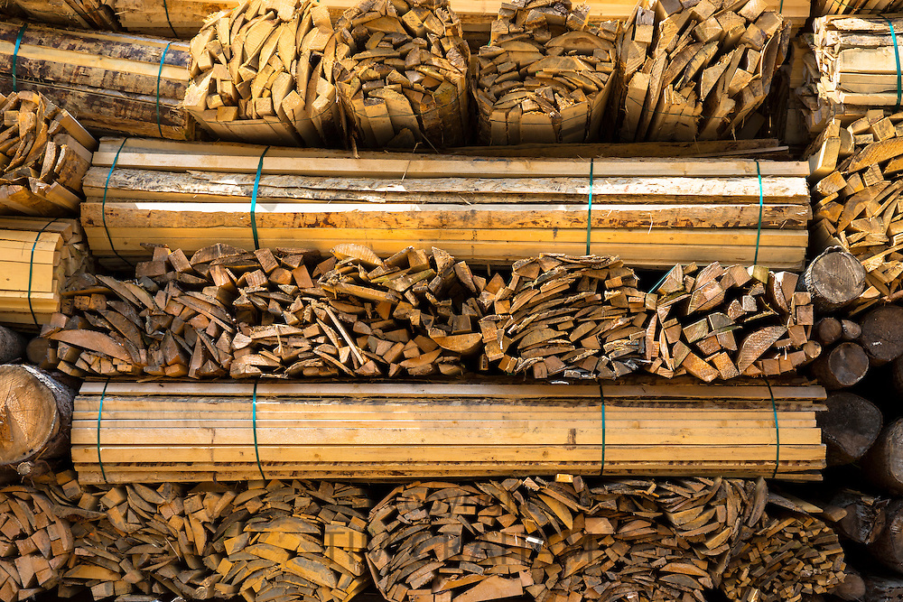 Timber planks, stacked to become seasoned wood at Interlaken in the Bernese Oberland, Switzerland