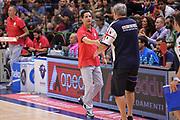 DESCRIZIONE : Trofeo Meridiana Dinamo Banco di Sardegna Sassari - Olimpiacos Piraeus Pireo<br /> GIOCATORE : Giannis Sfairopoulos Romeo Sacchetti<br /> CATEGORIA : Allenatore Coach Fair Play Postgame<br /> SQUADRA : Olimpiacos Piraeus Pireo<br /> EVENTO : Trofeo Meridiana <br /> GARA : Dinamo Banco di Sardegna Sassari - Olimpiacos Piraeus Pireo Trofeo Meridiana<br /> DATA : 16/09/2015<br /> SPORT : Pallacanestro <br /> AUTORE : Agenzia Ciamillo-Castoria/L.Canu