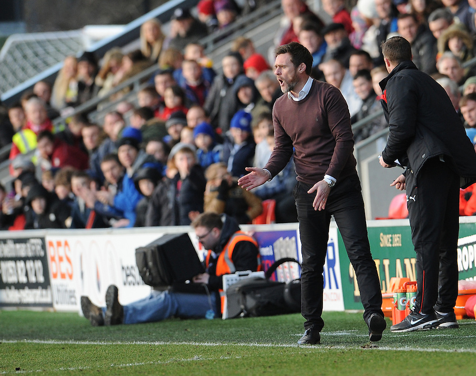 Fleetwood Town manager Graham Alexander shouts instructions from the technical area <br /> <br /> Photographer Ian Cook/CameraSport<br /> <br /> Football - The Football League Sky Bet League One - Fleetwood Town v Notts County - Saturday 21st February 2015 - Highbury Stadium - Fleetwood<br /> <br /> © CameraSport - 43 Linden Ave. Countesthorpe. Leicester. England. LE8 5PG - Tel: +44 (0) 116 277 4147 - admin@camerasport.com - www.camerasport.com