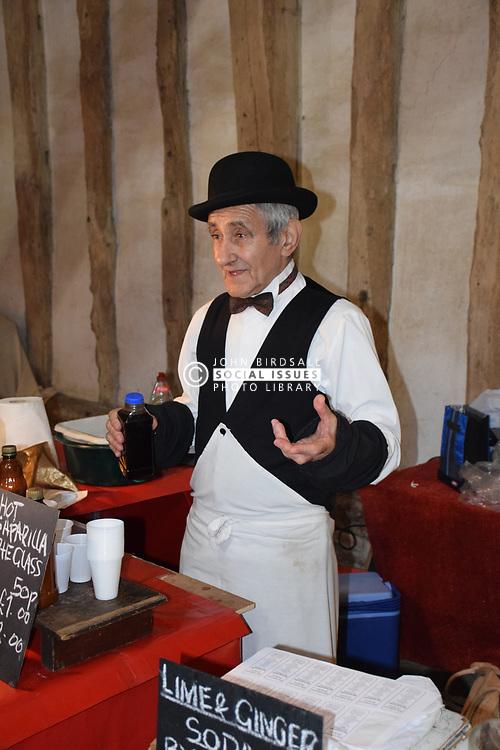 Sarsaparilla stall at food fair, Cressing Temple Barns, Essex UK Sep 2019