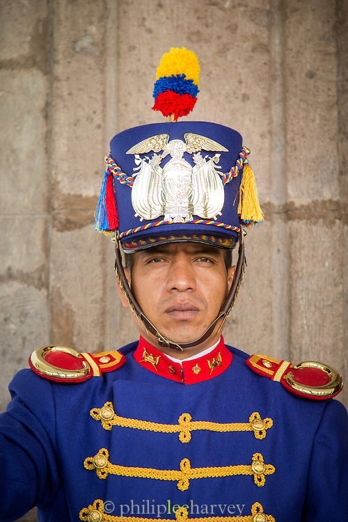 Guard at The Presidential Palace, Independence Square, Quito, Ecuador, South America