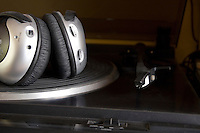 Record player with headphones