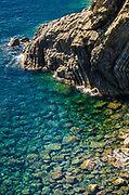 Rocky coastline and blue water, Riomaggiore, Cinque Terre, Liguria, Italy
