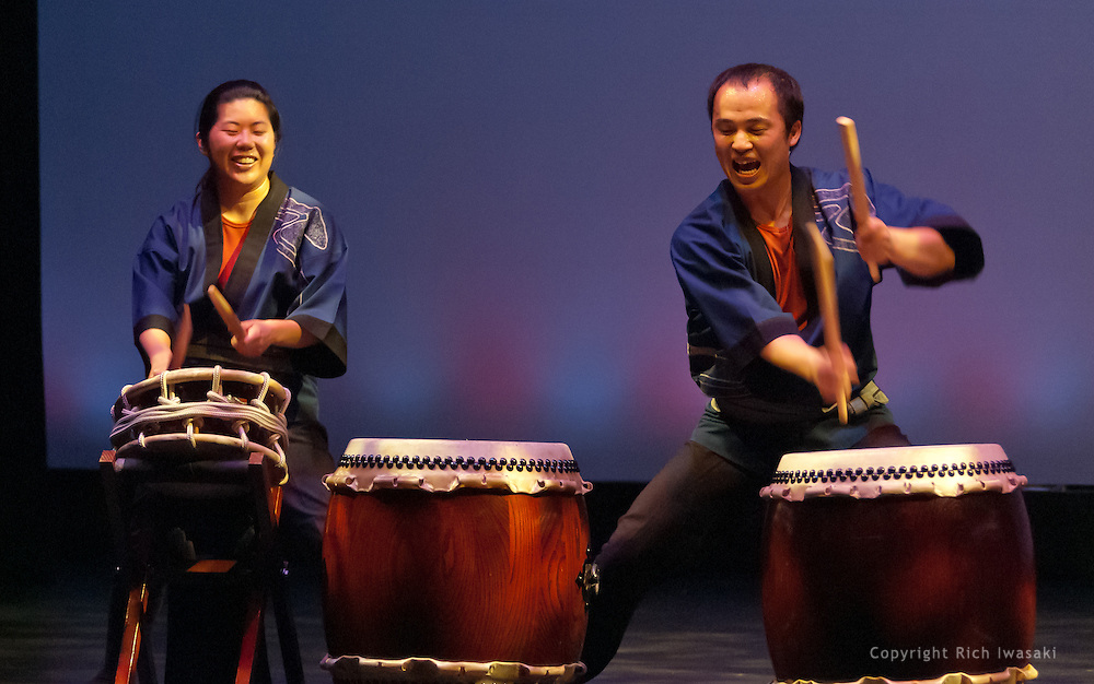 """Members of Portland Taiko perform at the 2011 concert """"Drums@Work, Drums@Play"""", Winningstad Theatre, Portland Center for the Performing Arts, Portland, Oregon"""