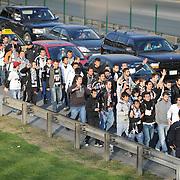 Besiktas's supporters during their Turkish superleague soccer derby match Fenerbahce between Besiktas at Sukru Saracaoglu stadium in Istanbul Turkey on Sunday 18 April 2010. Photo by Mehmet ESKICI/TURKPIX