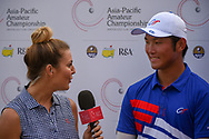 Golf reporter, Amanda Balionis interviews Yung-Hua LIU (TPE) following Rd 1 of the Asia-Pacific Amateur Championship, Sentosa Golf Club, Singapore. 10/4/2018.<br /> Picture: Golffile | Ken Murray<br /> <br /> <br /> All photo usage must carry mandatory copyright credit (© Golffile | Ken Murray)