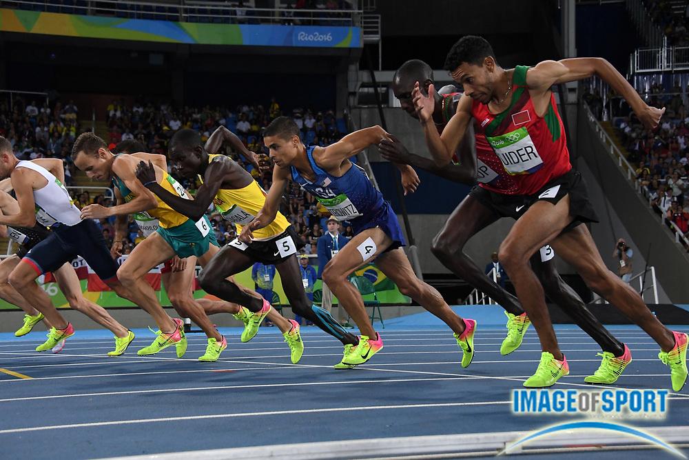 Aug 20, 2016; Rio de Janeiro, Brazil; Ryan Gregson (AUS), Ronald Musagala (UGA), Matthew Centrowitz (USA),Asbel Kiprop (KEN) and Abdalaati Iguider (MAR) at the start of the 1,500m during the 2016 Rio Olympics at Estadio Olimpico Joao Havelange. <br /> <br /> *