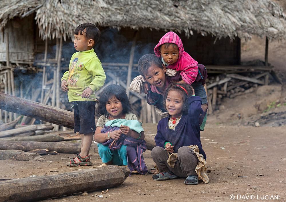Children posing in Komsing, an historical Minyong tribe village.