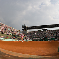 03 June 2007: Swiss player Patty Schnyder serves to Russian player Maria Sharapova during the French Tennis Open fourth round match, won 3-6, 6-4, 9-7 by Maria Sharapova against Patty Schnyder, on day 8 at Roland Garros, in Paris, France.