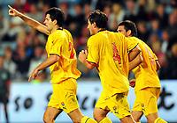 Fotball Landskamp Norge vs Makedonia<br /> VM Kvalifisering 09.09.2009 Ullevaal Stadion Oslo<br /> <br /> Norway vs FYR Macedonia  <br /> <br /> Resultat 2 - 1<br /> <br /> Foto: Robert Christensen Digitalsport<br /> <br /> Makedonia målscorer Boban Grncarov jubler sammen med , Goran Popov og Goce Sedloski