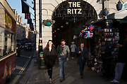 Sign for the famous Ritz, famous for its afternoon teas, and exclusive hotel rooms in London, England, United Kingdom.
