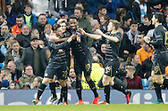 Celtic's Patrick Roberts (27) celebrates his opening goal during the Champions League match between Manchester City and Celtic at the Etihad Stadium, Manchester, England on 6 December 2016. Photo by Craig Galloway.