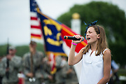 April 29, 2017, 22nd annual Queen's Cup Steeplechase. Maddie Huecker sings the National Anthem