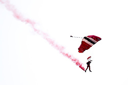 The Red Devils parachute into Lords with the match ball for the Cricket World Cup Final between England and New Zealand - Mandatory by-line: Robbie Stephenson/JMP - 14/07/2019 - CRICKET - Lords - London, England - England v New Zealand - ICC Cricket World Cup 2019 - Final