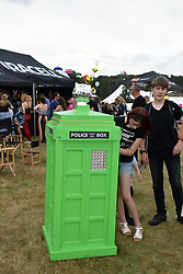 Latitude Festival, Henham Park, Suffolk, UK July 2019. Police box installation