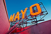 A red neon sign on top of the Mayo Hotel on Saturday, October 19, 2013, in downtown Tulsa, Oklahoma. <br /> <br /> themayohotel.com