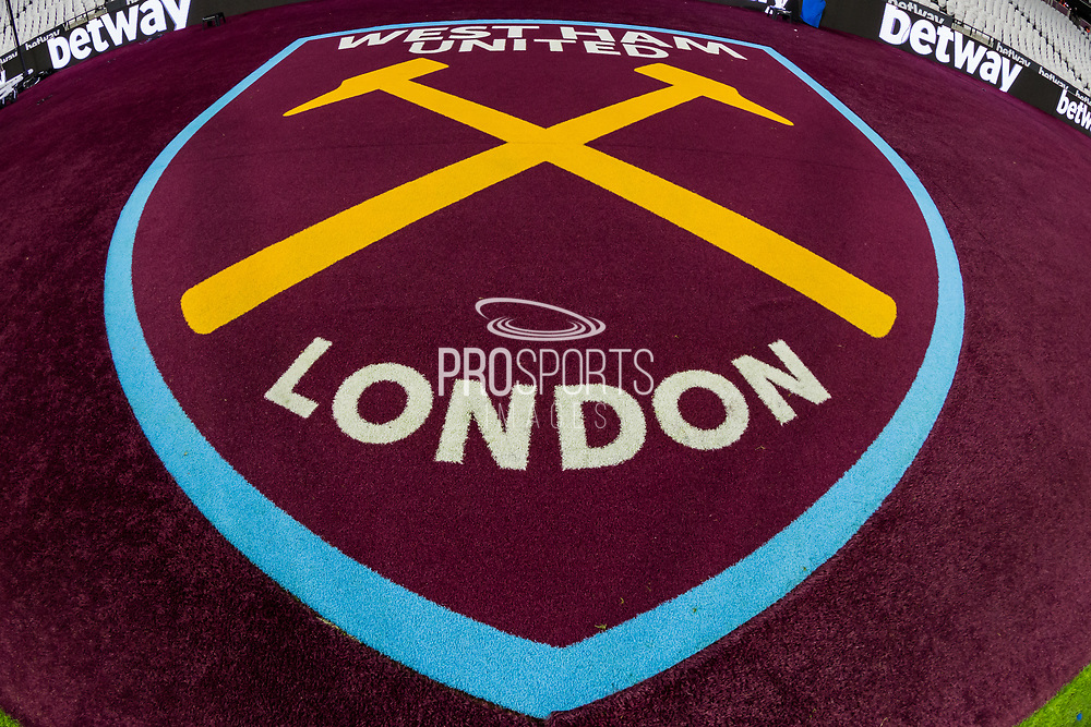 West Ham United London insignia at the London Stadium the Premier League match between West Ham United and Arsenal at the London Stadium, London, England on 9 December 2019.