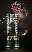 Fireworks explode over the George Washington Bridge during fourth of July celelbrations. As of 2013, the George Washington Bridge carries approximately 102 million vehicles per year, making it the world's busiest motor vehicle bridge, according to the Port Authority of New York and New Jersey, the bi-state government agency that owns and operates several area bridges, tunnels, and airports.