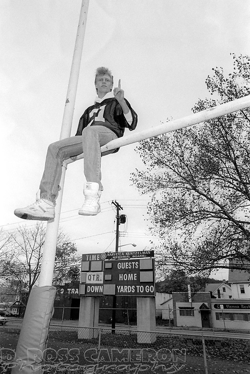 Tom Mayes of Dover High School's varsity football team, poses for a photograph at the school's football field, Sunday, Nov. 2, 1986, in Dover, N.J. (D. Ross Cameron/North Jersey Advance)