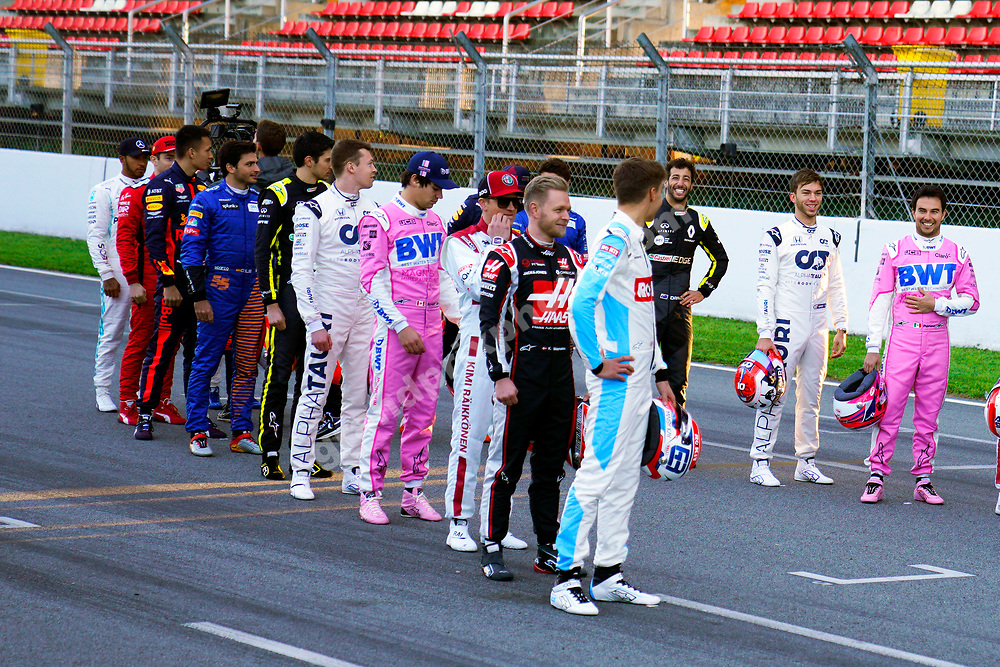 All drivers on the grid the pre-season test  at the Circuit de Barcelona-Catalunya in February 2020. Photo: Grand Prix Photo