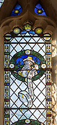 Stained glass window of Prophet Micah in church of Saint Margaret, South Elmham, Suffolk, England, UK c 1917