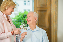 Couple clinking glasses with sparkling wine, smiling